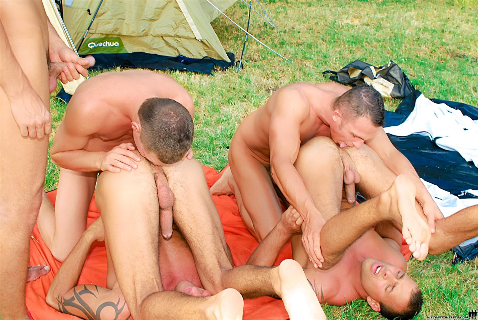 Visconti-Triplets-Jason-Visconti-Jimmy-Visconti-Joey-Visconti-Giuseppe-Pardi-Fucking-During-A-Camping-Trip-Amateur-Gay-Porn-12 Visconti Triplets Tag Team Some Muscle Ass While Camping