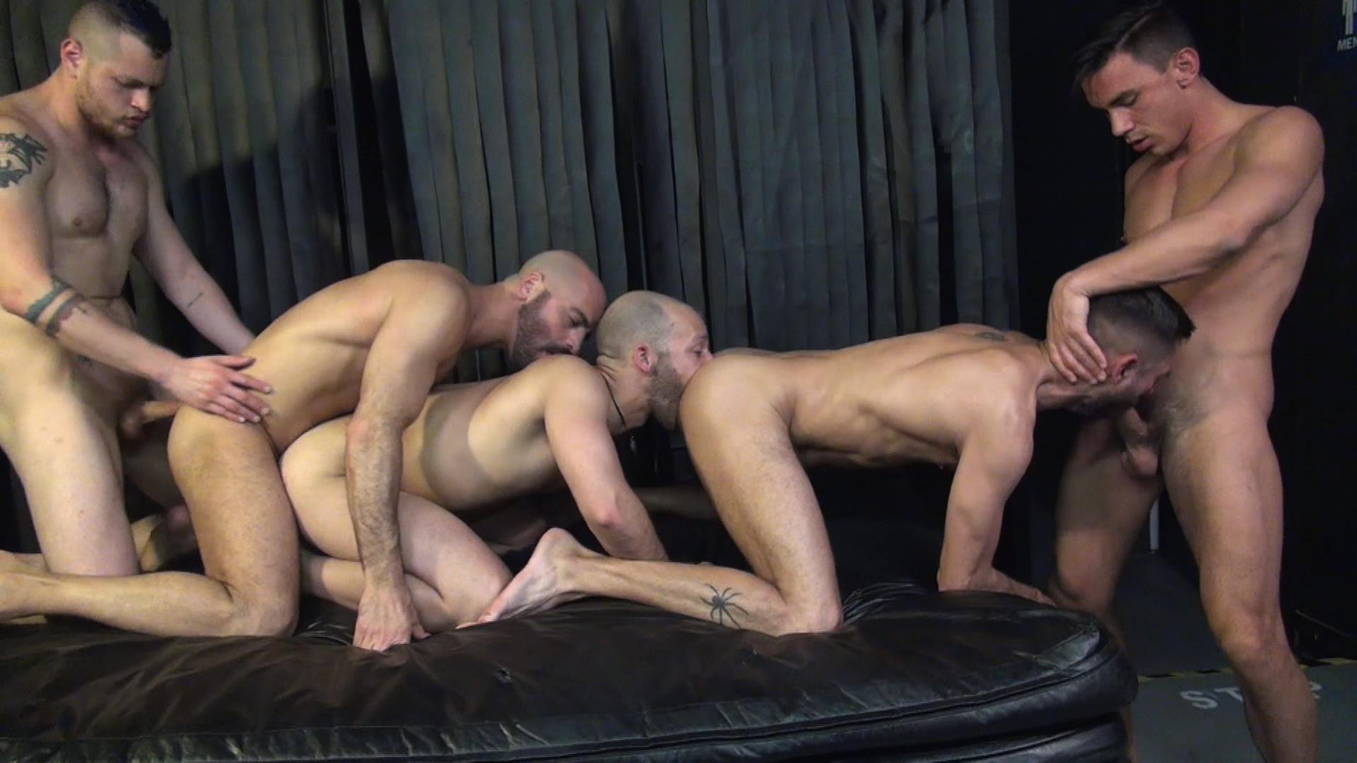 Raw Fuck Club Blue Bailey and Dylan Strokes and Adam Russo and Dean Brody and Jay Brix Bareback Orgy Amateur Gay Porn 6 Adam Russo Getting Double Penetrated At A Bareback Sex Party
