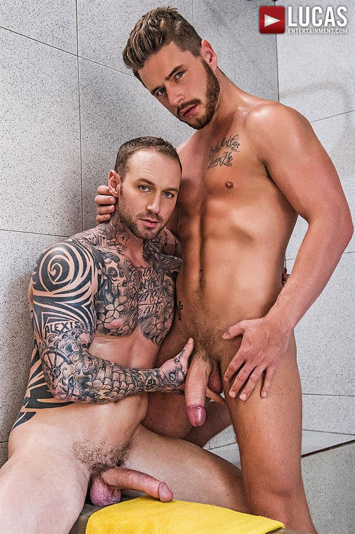 Lucas-Entertainment-Josh-Rider-and-Dylan-Naked-Tatted-Bareback-James-Amateur-Gay-Porn-22 Dylan James Barebacking Josh Rider In The Gym Shower